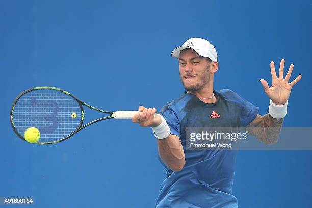 Andreas HaiderMaurer of Austria returns a ball against Jack Sock of the United States during the day five of the 2015 China Open at the China...