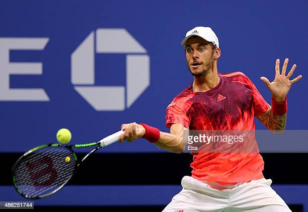 Andreas HaiderMaurer of Austria returns a shot to Novak Djokovic of Serbia on Day Three of the 2015 US Open at the USTA Billie Jean King National...