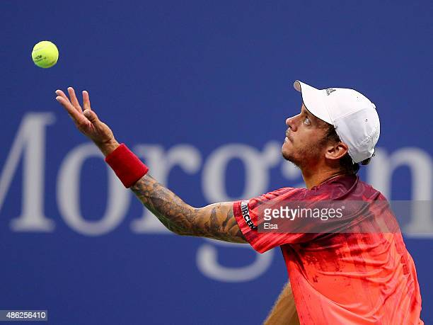 Andreas HaiderMaurer of Austria serves the ball to Novak Djokovic of Serbia on Day Three of the 2015 US Open at the USTA Billie Jean King National...