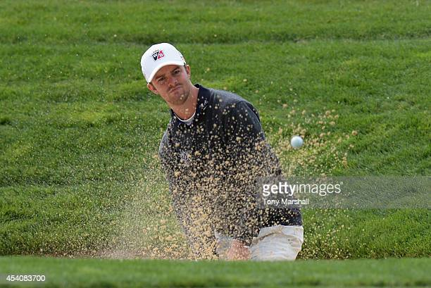 Andreas Harto of Denmark plays out of a bunker on the 1st green during day four of DD REAL Czech Masters at Albatross Golf Resort on August 24 2014...