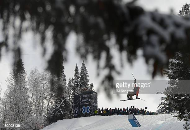 Andreas Hatveit flies high during the Ski Slopestyle Men's Final January 27 2013 The 2013 Winter X Games at Buttermilk Mountain in Aspen