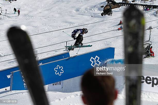 Andreas Hatveit from Norway rides the Slopestyle during the Men Ski Slopestyle Final of the Winter XGames Europe on March 14 2012 in Tignes France