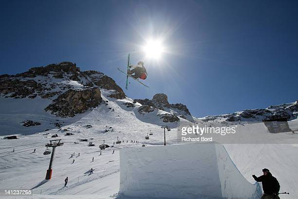 Andreas Hatveit from Norway rides the Slopestyle during the Winter XGames Europe second training day on March 13 2012 in Tignes France