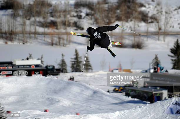 Andreas Hatveit grabs air on the final jump of his run during the Winter X Games slopestyle ski final on Saturday January 29 2011 AAron Ontiveroz The...