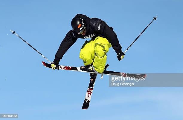Andreas Hatveit of Norway does an aerial maneuver as he descends the course during the Men's Skiing Slopestyle Eliminations during Winter X Games 14...