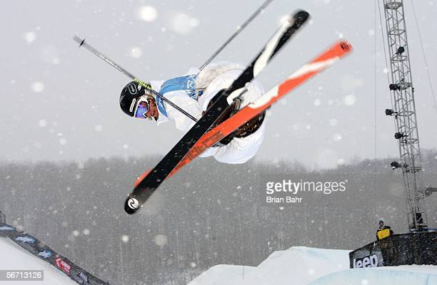 Andreas Hatveit of Norway spins over the halfpipe during the Men's Skiing Superpipe Qualifying at Winter X Games 10 on January 31 2006 at Buttermilk...