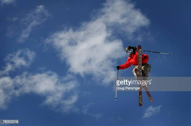 Andreas Hatveit of Sudndalen Norway goes airborne during practice for Men's Skiing Slopestyle at Winter X Games Twelve on Buttermilk Mountain January...