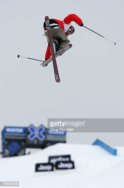 Andreas Hatveit of Sudndalen Norway spins a trick enroute to winning the Men's Skiing Slopestyle at Winter X Games Twelve at Buttermilk Mountain on...