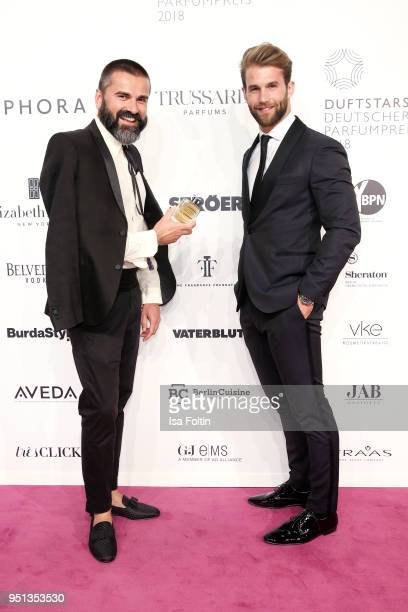 Andreas Haumesser and model Andre Hamann during the Duftstars at Flughafen Tempelhof on April 25 2018 in Berlin Germany