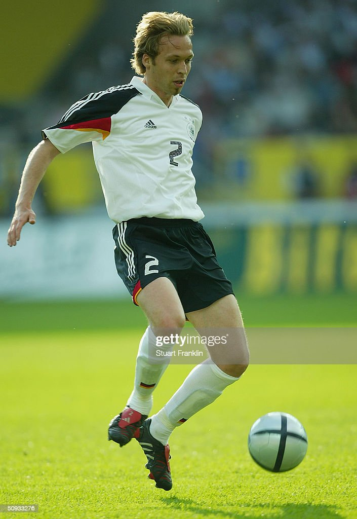 Andreas Hinkel of Germany in action during the International Friendly match between Germany and Hungary on June 6, 2004 at The Fritz-Walter Stadium in Kaiserlautern, Germany.