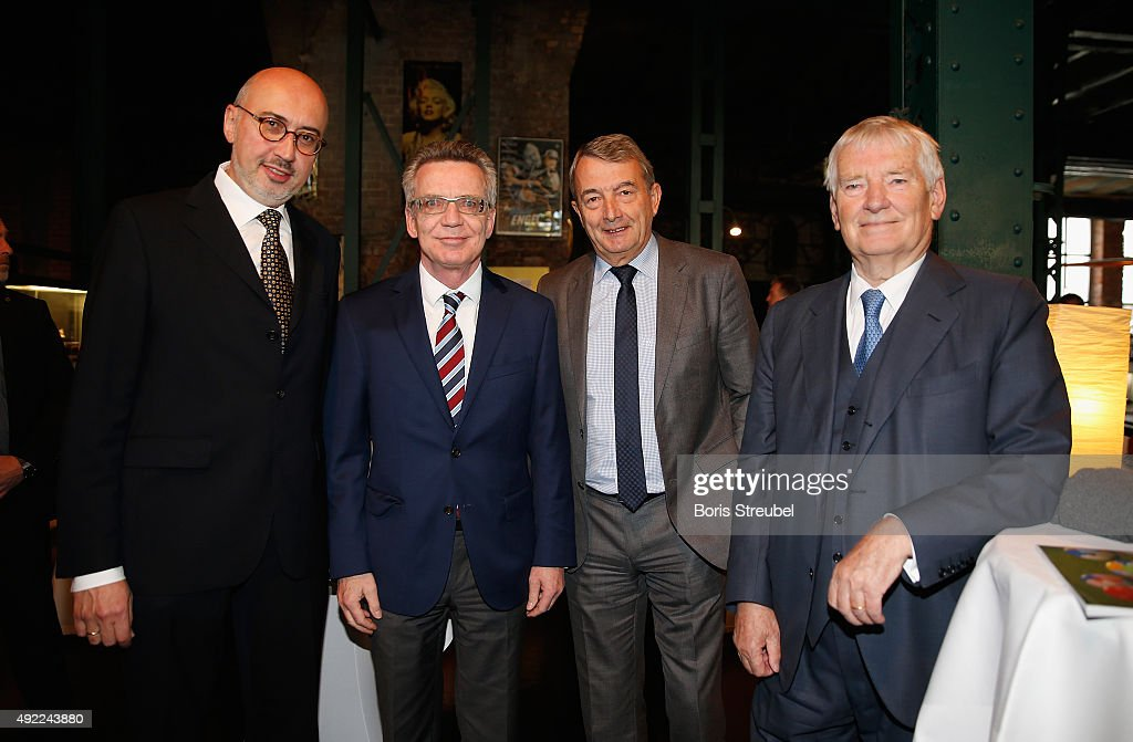 Andreas Hirsch, grandson of Julius Hirsch, Wolfgang Niersbach, president of the German Football Association (DFB), Thomas de Maiziere, Federal Minister of the Interior and Federal minister Otto Schily pose prior to the Julius-Hirsch-Preis Awarding Ceremony 2015 of the German Football Association (DFB) at Da Capo Eventhalle on October 11, 2015 in Leipzig, Germany.