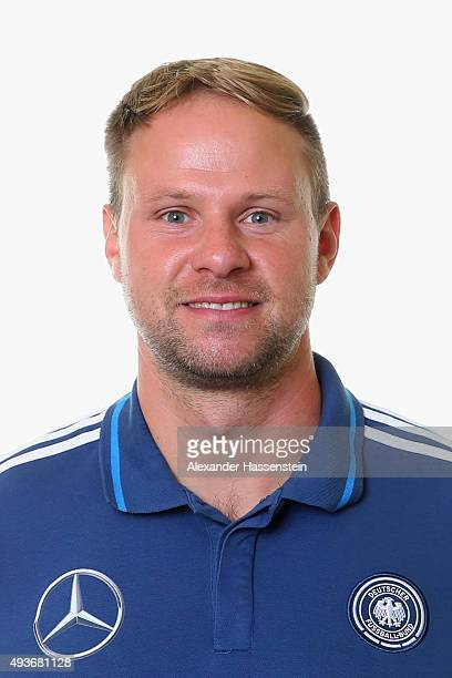 Andreas Hoelscher assistent coach of the Germany national U16 team poses during the team presentation on October 21 2015 in Grodig Austria