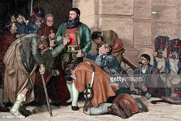 Andreas Hofer Tyrolean patriot Leader of the Tyrolean rebellion against Bonapartist imperialism Hofer led to execution Engraving Colored