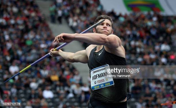 Andreas Hofmann of Germany competes in the javelin throw event during the ISTAF 2018 athletics meeting at Olympiastadion on September 2, 2018 in...