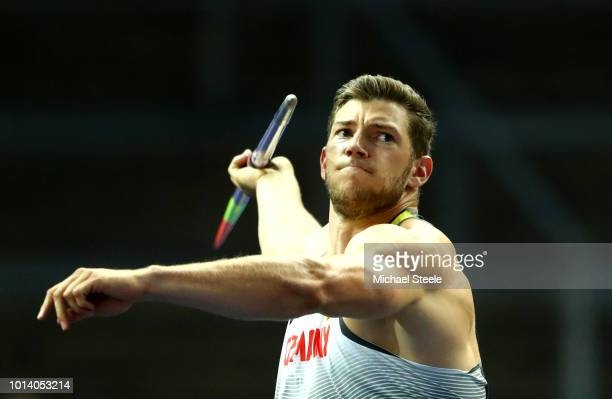 Andreas Hofmann of Germany competes in the Men's Javelin Final during day three of the 24th European Athletics Championships at Olympiastadion on...