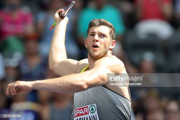 Andreas Hofmann of Germany competes in the Men's Javelin Throw qualification during day two of the 24th European Athletics Championships at...