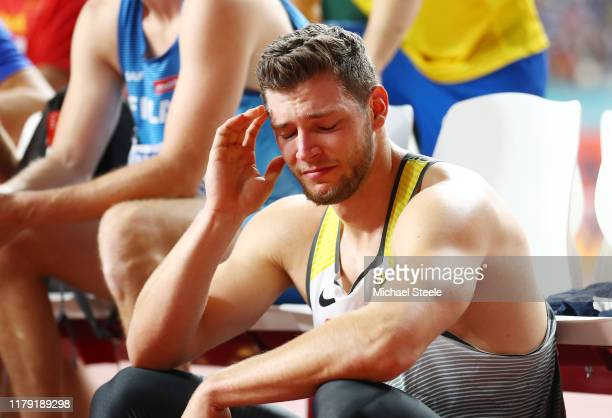 Andreas Hofmann of Germany reacts after failing to qualify in the Men's Javelin Throw qualification during day nine of 17th IAAF World Athletics...