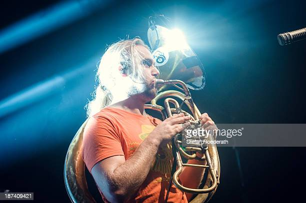 Andreas Hofmeir of La Brass Banda performs live during a concert at Columbiahalle on November 8 2013 in Berlin Germany