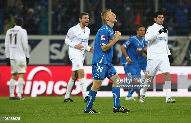 Andreas Ibertsberger of Hoffenheim reacts after his team scores the second goal during the Bundesliga match between 1899 Hoffenheim and FC St Pauli...