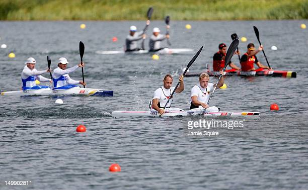 Andreas Ihle and Martin Hollstein of Germany compete in the Men's Kayak Double 1000m Canoe Sprint heats on Day 10 of the London 2012 Olympic Games at...
