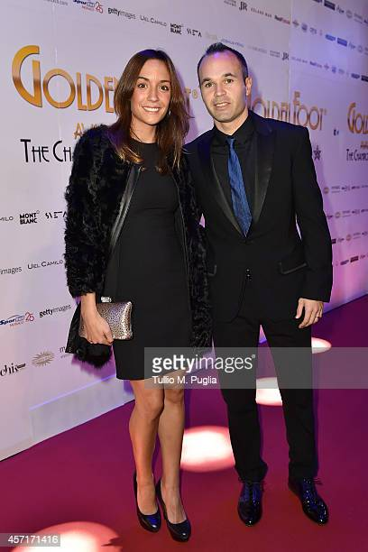 Andreas Iniesta and his wife Anna Ortiz attend the Golden Foot 2014 Awards Ceremony at Sporting Club on October 13 2014 in MonteCarlo Monaco