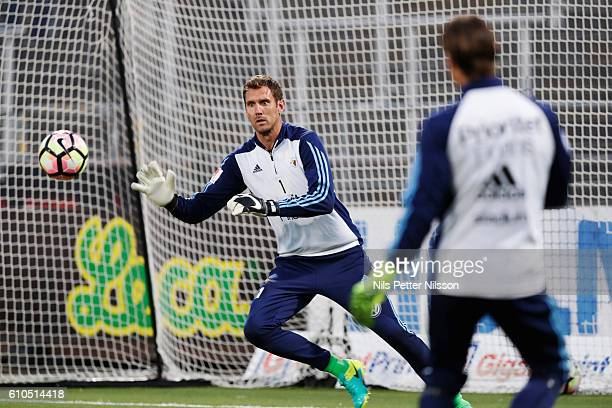 Andreas Isaksson goalkeeper of Djurgardens IF ahead of the Allsvenskan match between IFK Norrkoping and Djurgardens IF at Ostgotaporten on September...