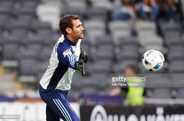Andreas Isaksson goalkeeper of Djurgardens IF during the allsvenskan match between Djurgardens IF and IF Elfsborg at Tele2 Arena on August 14 2016 in...