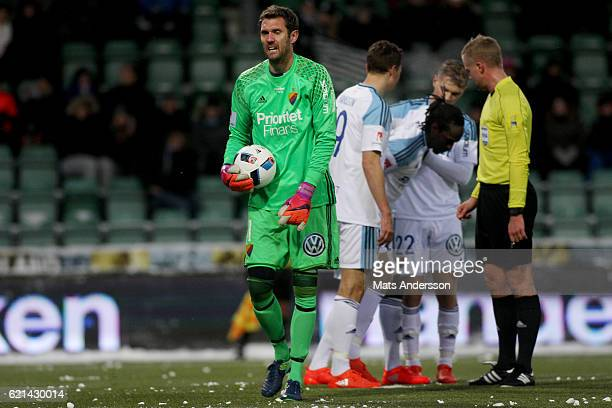 Andreas Isaksson goalkeeper of Djurgardens IF during the Allsvenskan match between GIF Sundsvall and Djurgardens IF at Norrporten Arena on November 6...