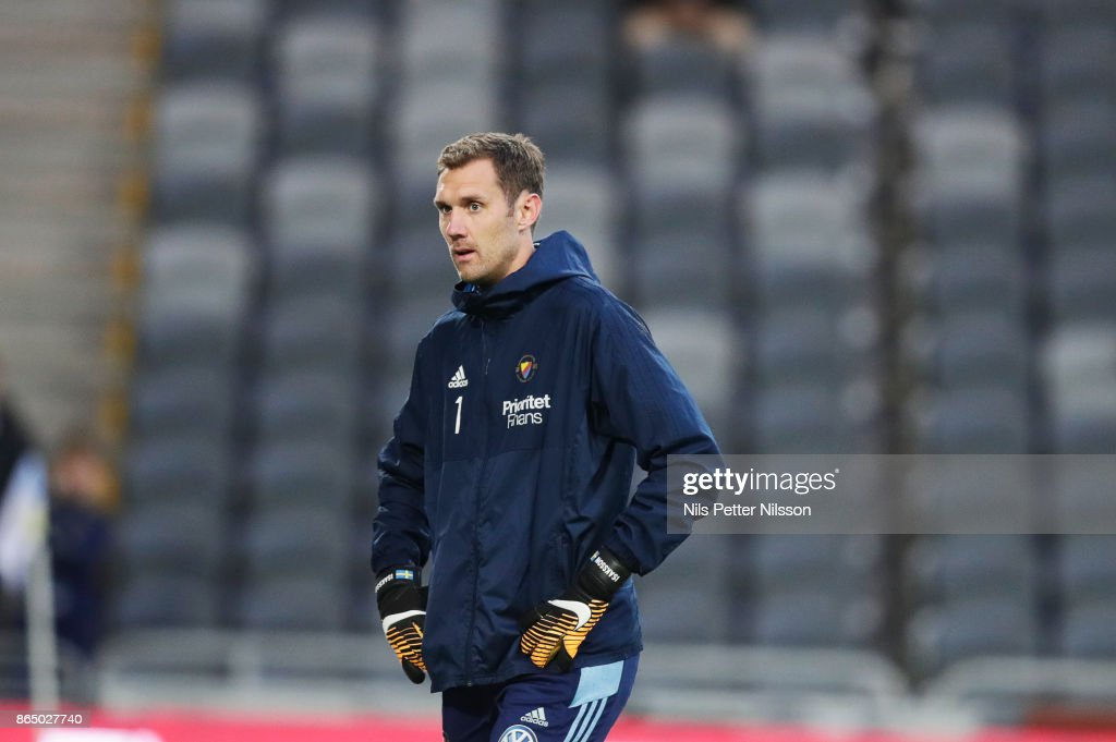 Andreas Isaksson, goalkeeper of Djurgardens IF during warm up ahead of the Allsvenskan match between Djurgardens IF and BK Hacken at Tele2 Arena on October 22, 2017 in Stockholm, Sweden.