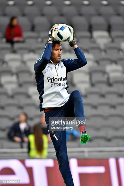 Andreas Isaksson goalkeeper of Djurgardens IF during warm up prior the allsvenskan match between Djurgardens IF and Orebro SK at Tele2 Arena on...