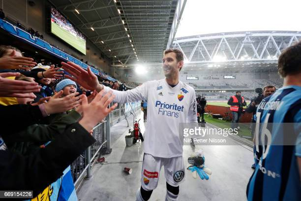 Andreas Isaksson of Djurgardens IF celebrates after the victory during the Allsvenskan match between Djurgardens IF and IF Elfsborg at Tele2 Arena on...
