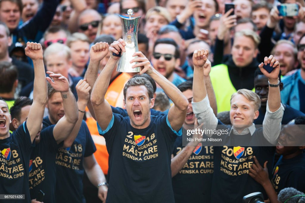 Andreas Isaksson of Djurgardens IF celebrates after the victory during the Swedish Cup Final between Djurgardens IF and Malmo FF at Tele2 Arena on May 10, 2018 in Stockholm, Sweden.