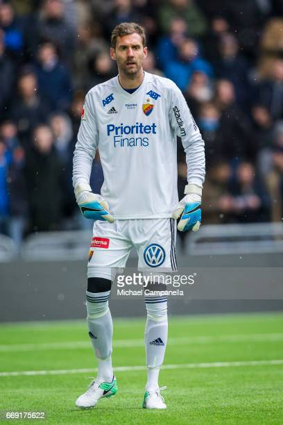 Andreas Isaksson of Djurgardens IF during an Allsvenskan match between Djurgardens IF and IF Elfsborg at Tele2 Arena on April 16 2017 in Stockholm...