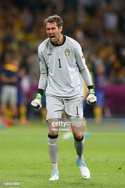 Andreas Isaksson of Sweden celebrates during the UEFA EURO 2012 group D match between Sweden and England at The Olympic Stadium on June 15, 2012 in...