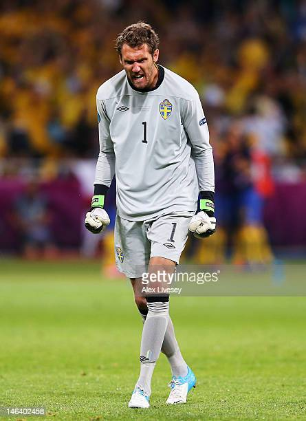 Andreas Isaksson of Sweden celebrates during the UEFA EURO 2012 group D match between Sweden and England at The Olympic Stadium on June 15 2012 in...