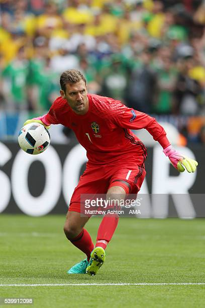 Andreas Isaksson of Sweden during the UEFA EURO 2016 Group E match between Republic of Ireland and Sweden at Stade de France on June 13 2016 in Paris...