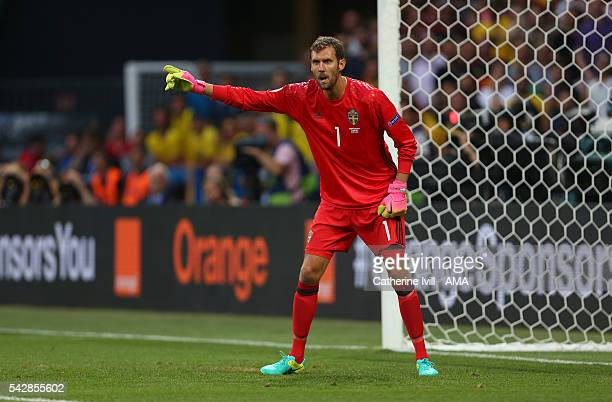 Andreas Isaksson of Sweden during the UEFA EURO 2016 Group E match between Sweden and Belgium at Allianz Riviera Stadium on June 22 2016 in Nice...