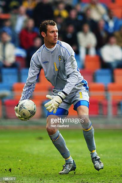Andreas Isaksson of Sweden in action during the International Friendly match between Sweden and Croatia held on April 30 2003 at the Rasunda Stadion...