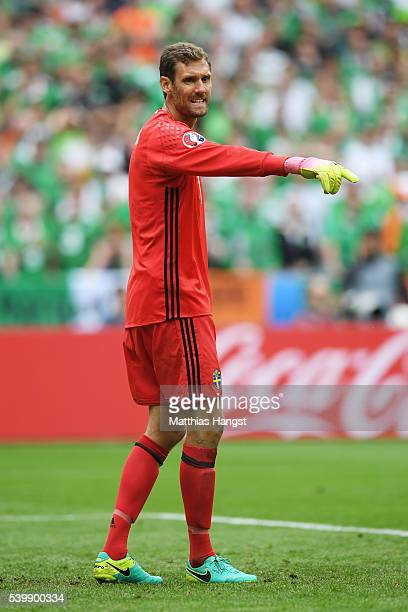 Andreas Isaksson of Sweden is seen during the UEFA EURO 2016 Group E match between Republic of Ireland and Sweden at Stade de France on June 13 2016...