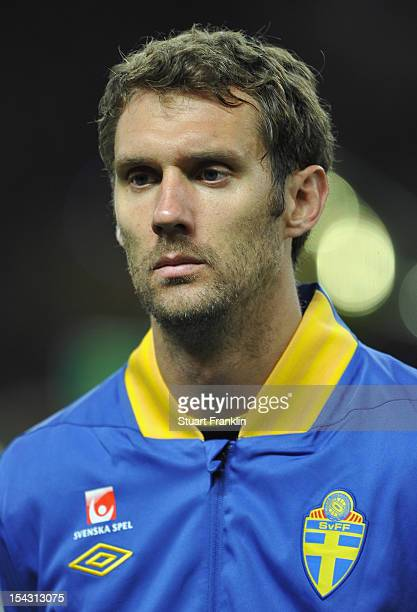 Andreas Isaksson of Sweden lines up before the FIFA 2014 World Cup qualifier group C match between German and Sweden at Olympiastadion on October 16...