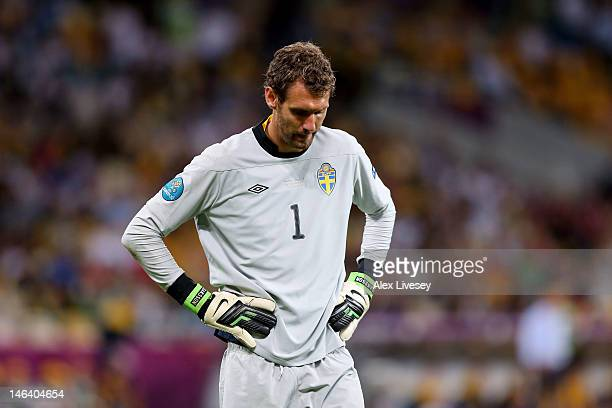 Andreas Isaksson of Sweden looks dejected during the UEFA EURO 2012 group D match between Sweden and England at The Olympic Stadium on June 15 2012...