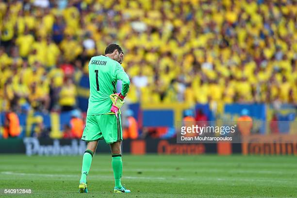 Andreas Isaksson of Sweden looks dejected following defeat in the UEFA EURO 2016 Group E match between Italy and Sweden at Stadium Municipal on June...