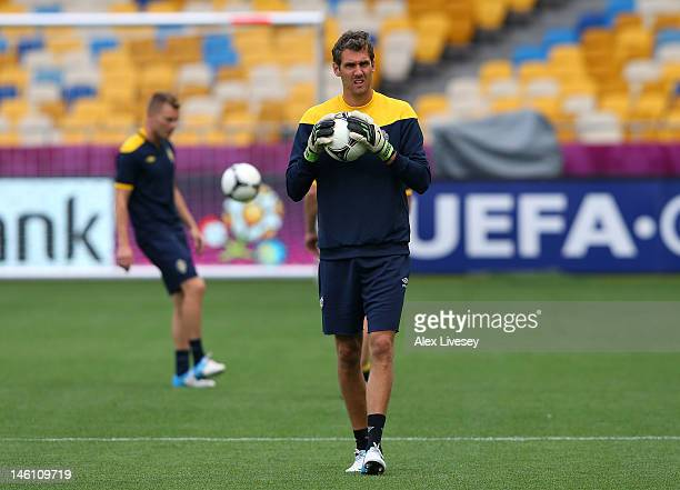 Andreas Isaksson of Sweden looks on during a UEFA EURO 2012 training session at the Olympic Stadium on June 10 2012 in Kiev Ukraine