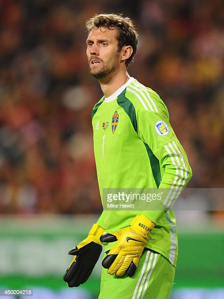 Andreas Isaksson of Sweden looks on during the FIFA 2014 World Cup Qualifier Playoff First Leg between Portugal and Sweden at Estadio da Luz on...