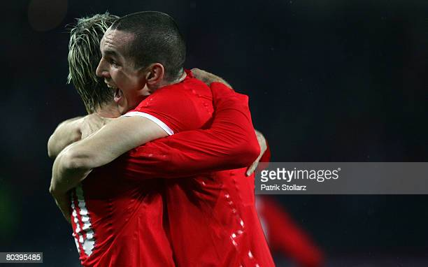 Andreas Ivanschitz and Emanuel Pogatetz of Austria celebrate during the international friendly match between Austria and Netherlands at the Ernst...