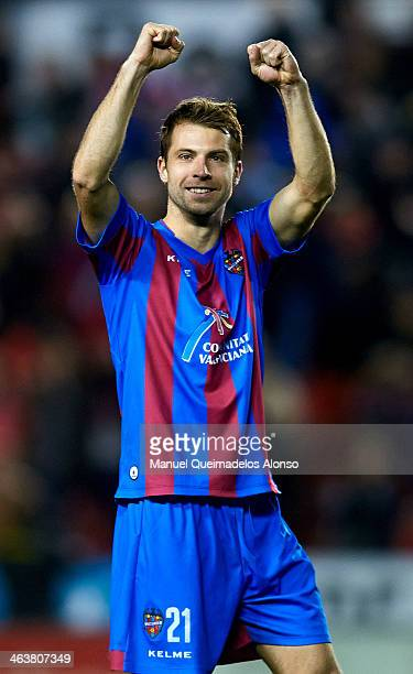 Andreas Ivanschitz of Levante celebrates after the end during the la Liga match between Levante UD and FC Barcelona at Ciutat de Valencia on January...