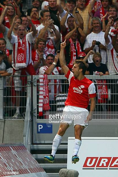 Andreas Ivanschitz of Mainz celebrates the first goal during the Bundesliga match between FSV Mainz 05 and FC Schalke 04 at Coface Arena on August...