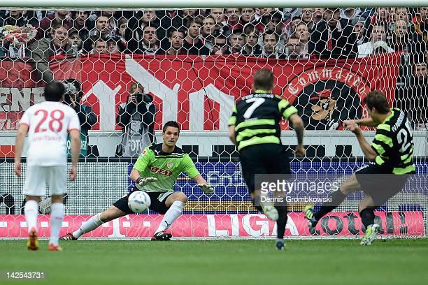 Andreas Ivanschitz of Mainz scores his team's opening goal during the Bundesliga match between VfB Stuttgart and FSV Mainz 05 at Mercedes-Benz Arena...