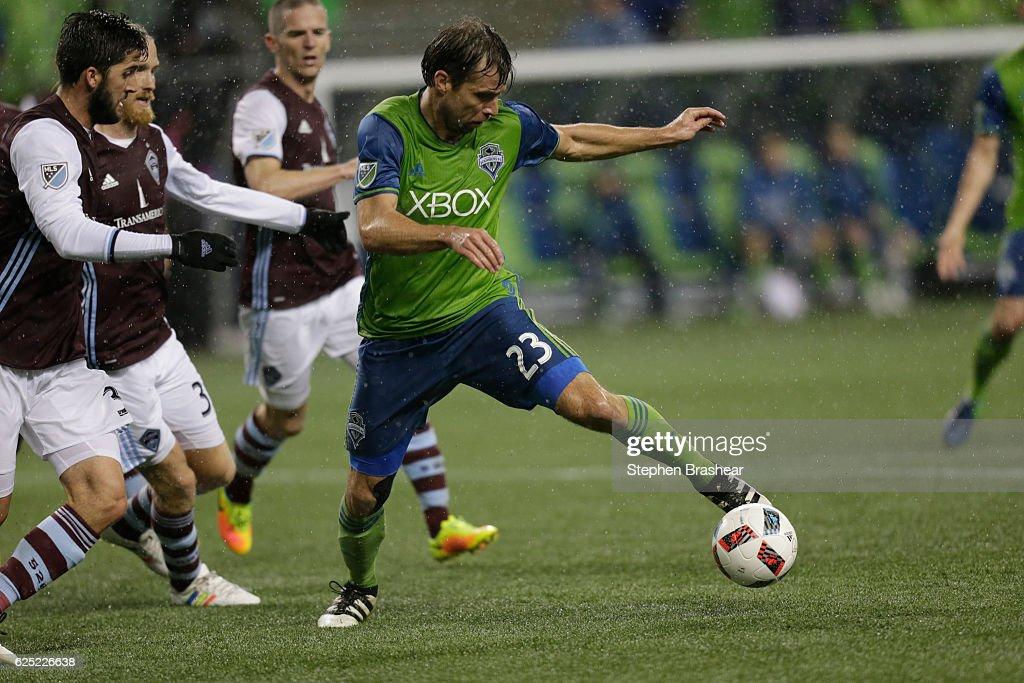 Andreas Ivanschitz #23, right, of the Seattle Sounders dribbles the ball in front of Eric Miller #3 of the Colorado Rapids during the second half of a match in the first leg of the Western Conference Finals at CenturyLink Field on November 22, 2016 in Seattle, Washington. The Sounders won the match 2-1.