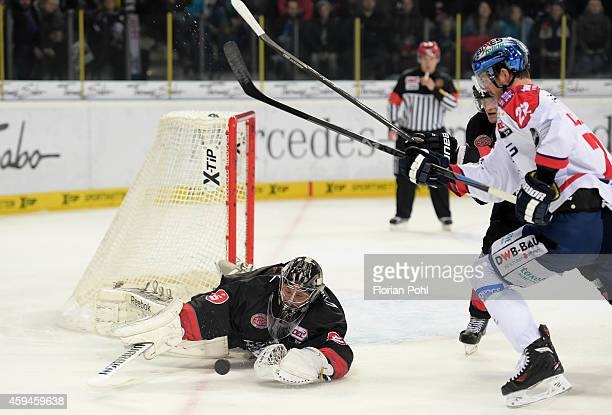 Andreas Jenike of the Thomas Sabo Ice Tigers Nuernberg and Barry Tallackson of the Eisbaeren Berlin during the game between Thomas Sabo Ice Tigers...